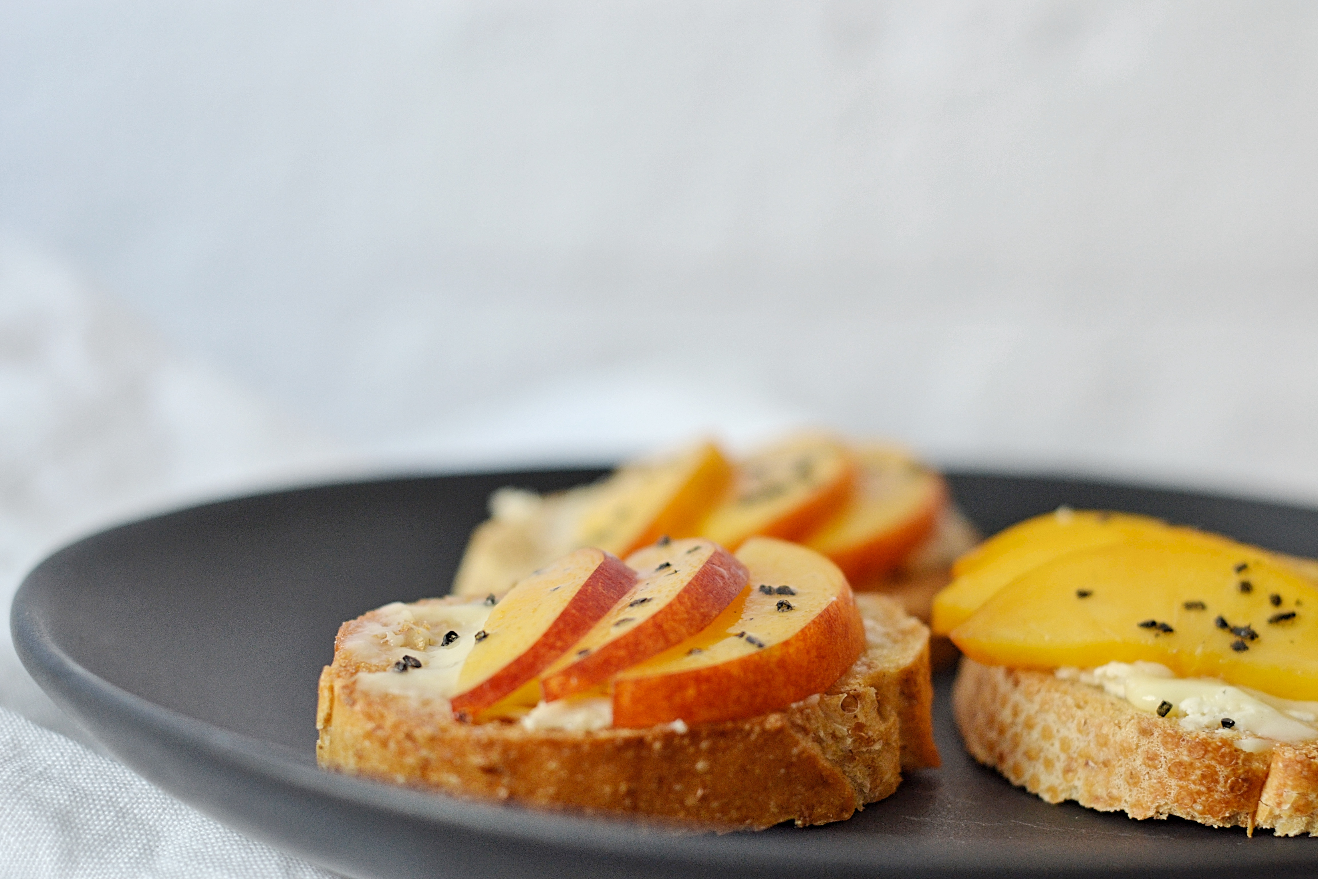 French Baguette with Cheese & Peaches